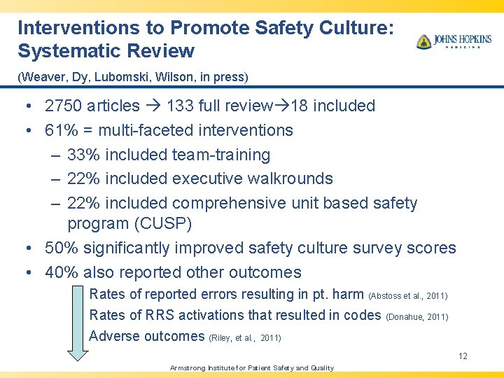 Interventions to Promote Safety Culture: Systematic Review (Weaver, Dy, Lubomski, Wilson, in press) •