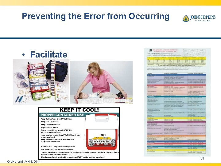 Preventing the Error from Occurring • Facilitate © JHU and JHHS, 2011 31