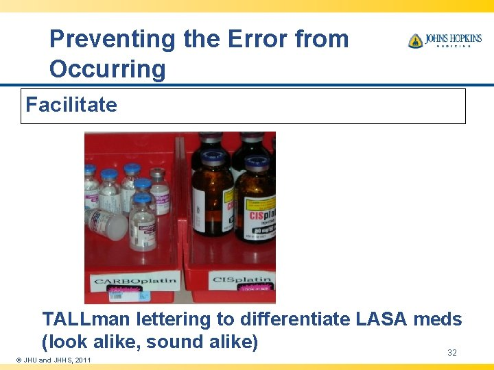 Preventing the Error from Occurring Facilitate TALLman lettering to differentiate LASA meds (look alike,