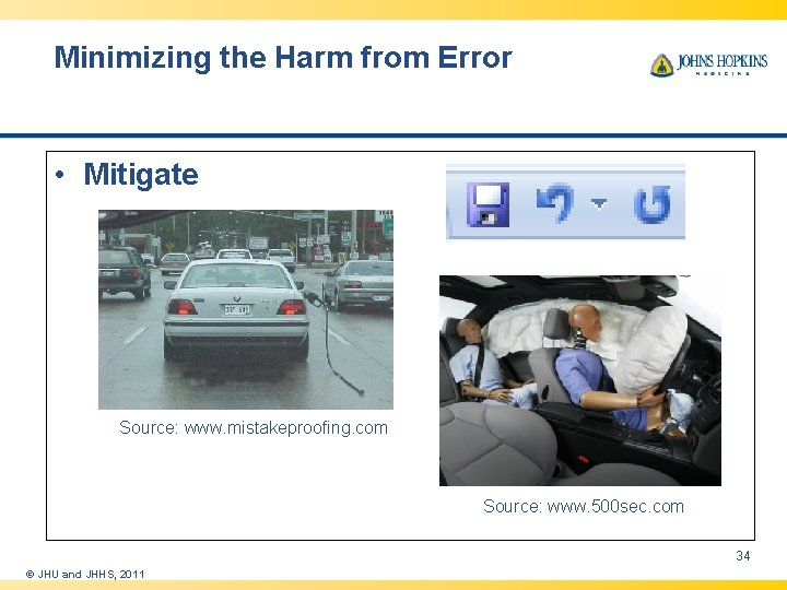 Minimizing the Harm from Error • Mitigate Source: www. mistakeproofing. com Source: www. 500