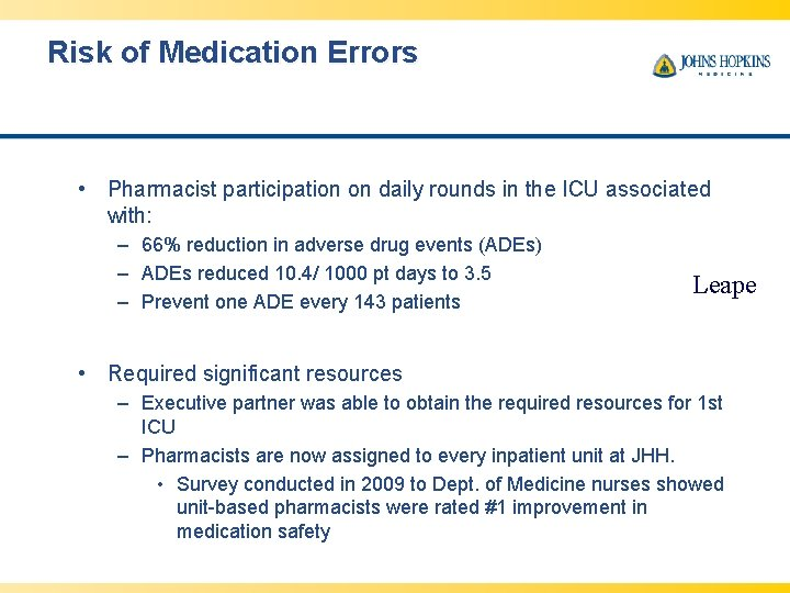 Risk of Medication Errors • Pharmacist participation on daily rounds in the ICU associated