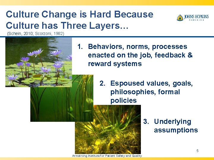 Culture Change is Hard Because Culture has Three Layers… (Schein, 2010; Scorzoni, 1982) 1.