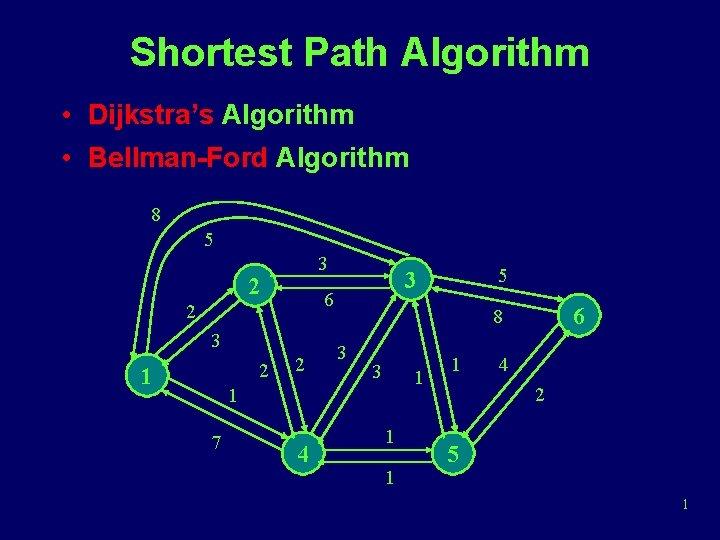 Shortest Path Algorithm • Dijkstra's Algorithm • Bellman-Ford Algorithm 8 5 3 2 6