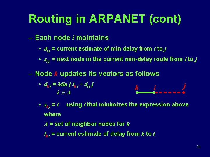 Routing in ARPANET (cont) – Each node i maintains • di j = current