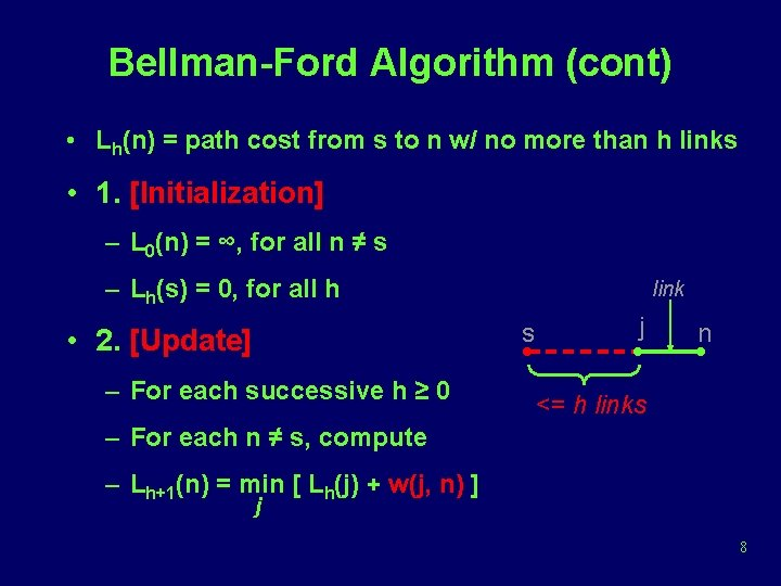 Bellman-Ford Algorithm (cont) • Lh(n) = path cost from s to n w/ no