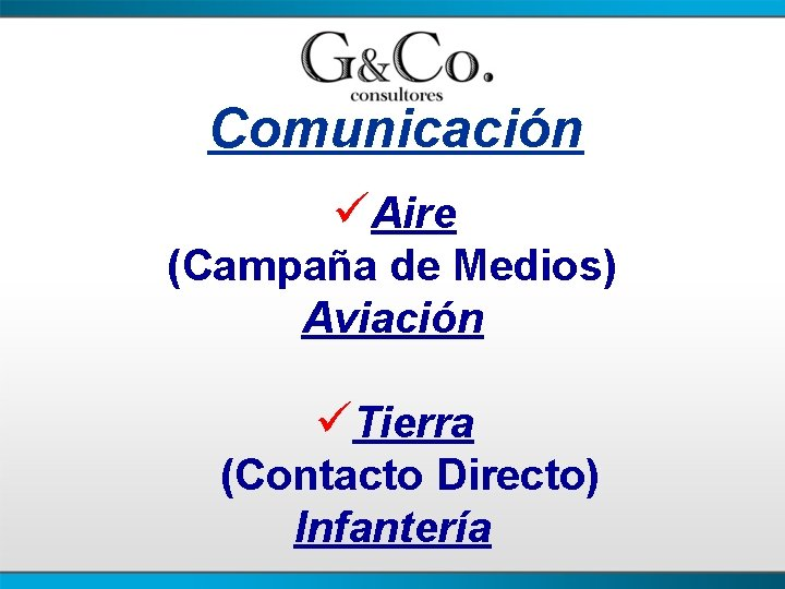 Comunicación üAire (Campaña de Medios) Aviación üTierra (Contacto Directo) Infantería