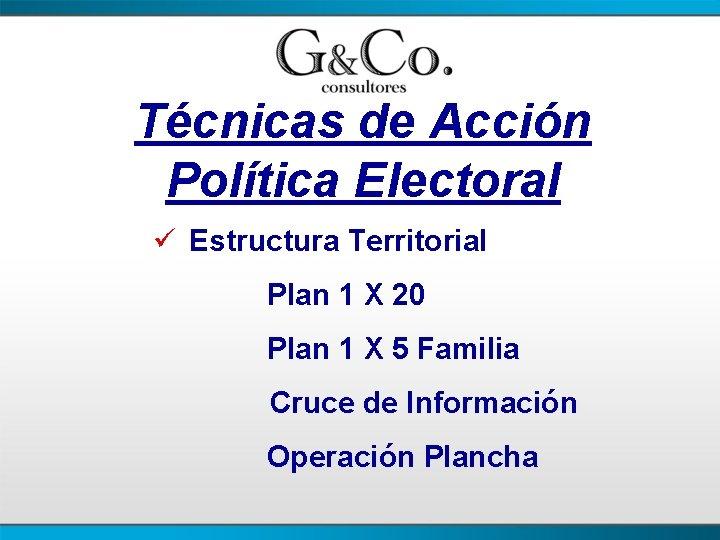 Técnicas de Acción Política Electoral ü Estructura Territorial Plan 1 X 20 Plan 1