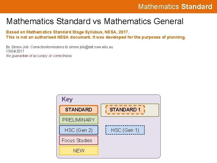 Mathematics Standard vs Mathematics General Based on Mathematics Standard Stage Syllabus, NESA, 2017. This