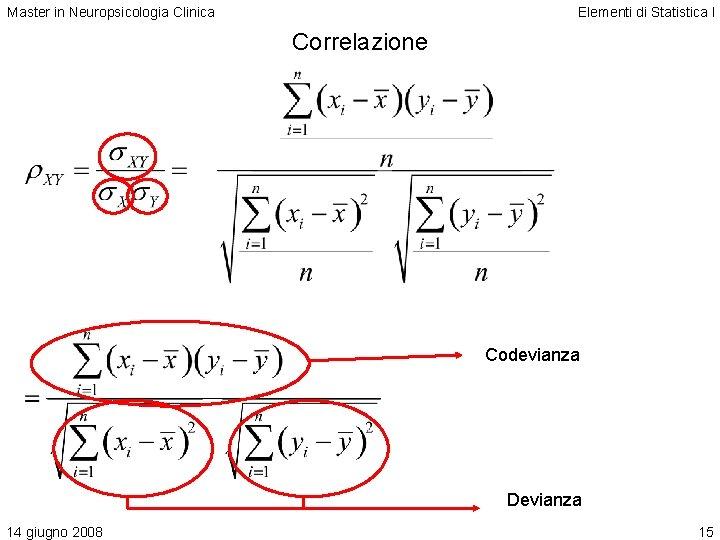 Master in Neuropsicologia Clinica Elementi di Statistica I Correlazione Codevianza Devianza 14 giugno 2008