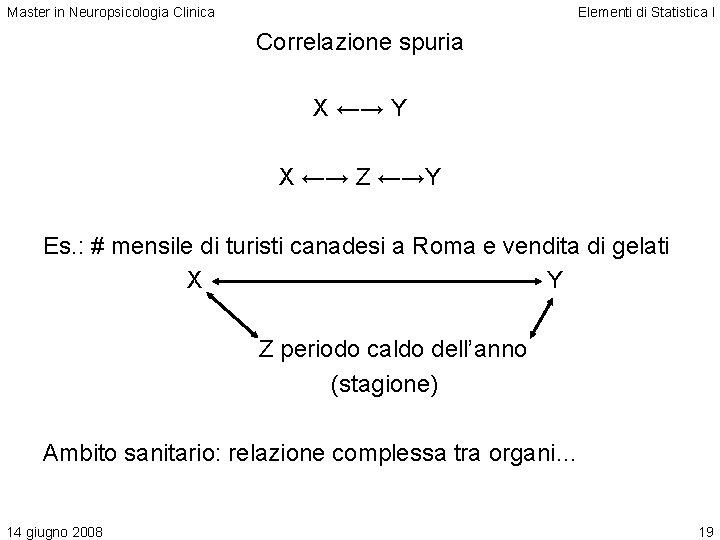Master in Neuropsicologia Clinica Elementi di Statistica I Correlazione spuria X ←→ Y X