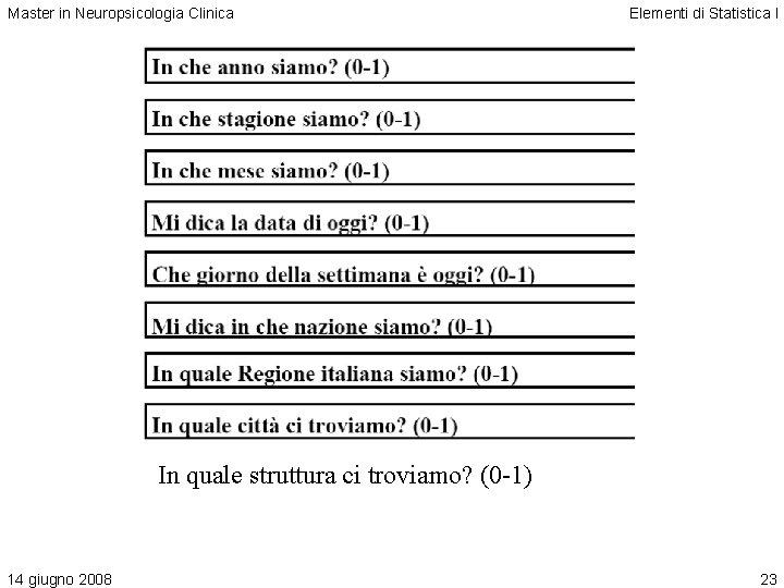 Master in Neuropsicologia Clinica Elementi di Statistica I In quale struttura ci troviamo? (0