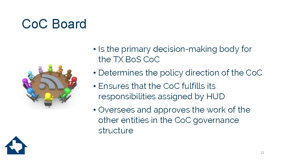 Co. C Board • Is the primary decision-making body for the TX Bo. S