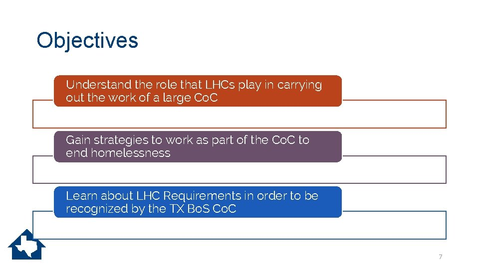 Objectives Understand the role that LHCs play in carrying out the work of a