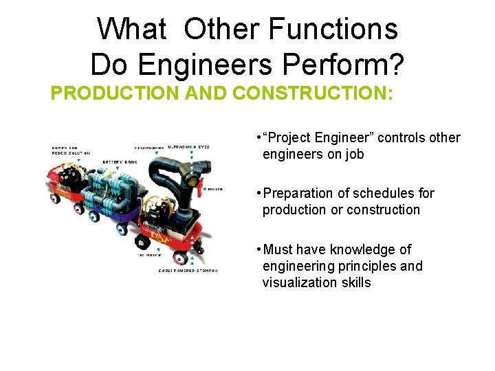"""What Other Functions Do Engineers Perform? PRODUCTION AND CONSTRUCTION: • """"Project Engineer"""" controls other"""
