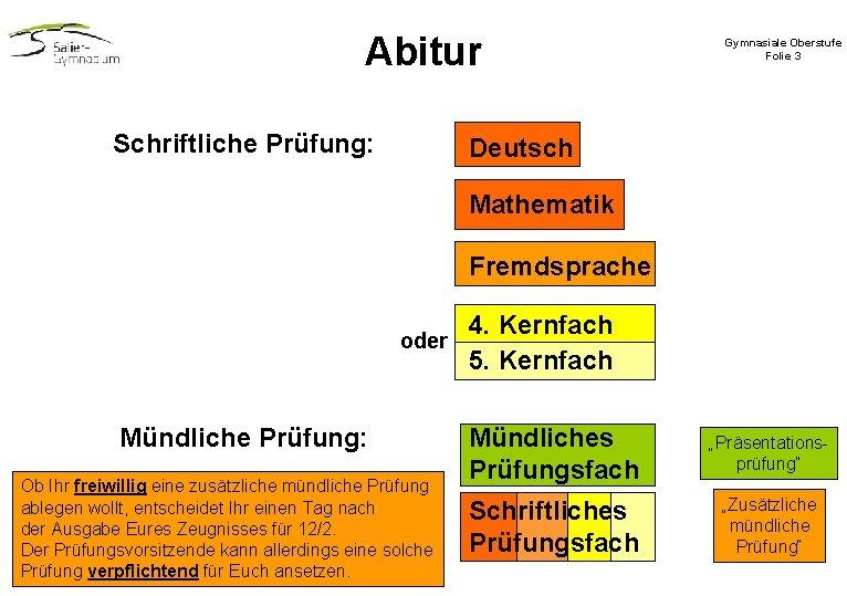 Abitur Schriftliche Prüfung: Gymnasiale Oberstufe Folie 3 Deutsch Mathematik Fremdsprache oder Mündliche Prüfung: Ob
