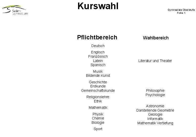 Kurswahl Pflichtbereich Gymnasiale Oberstufe Folie 1 Wahlbereich Deutsch Englisch Französisch Latein Spanisch Literatur und