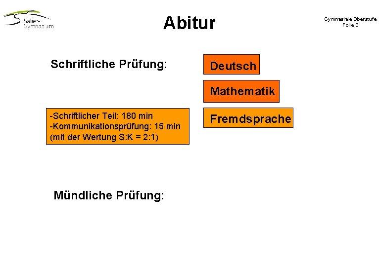 Abitur Schriftliche Prüfung: Deutsch Mathematik -Schriftlicher Teil: 180 min -Kommunikationsprüfung: 15 min (mit der