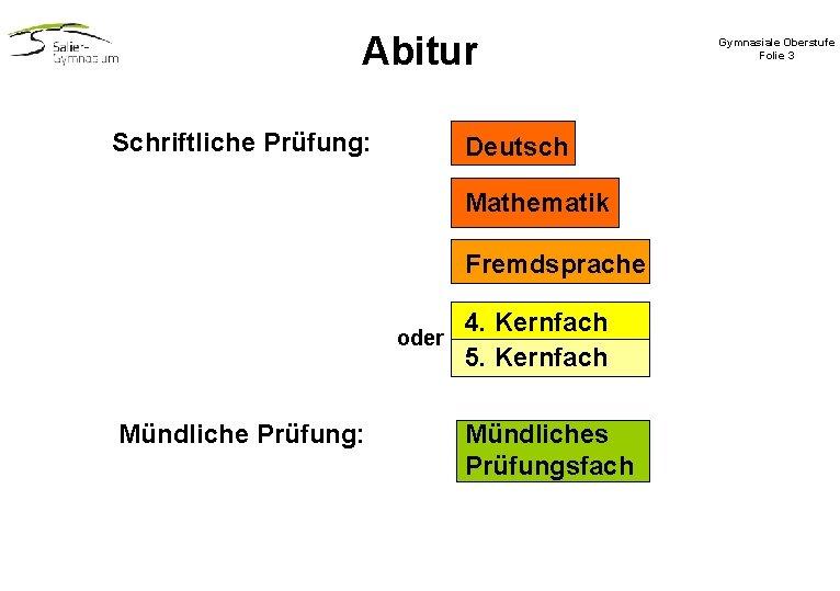 Abitur Schriftliche Prüfung: Deutsch Mathematik Fremdsprache oder Mündliche Prüfung: 4. Kernfach 5. Kernfach Mündliches