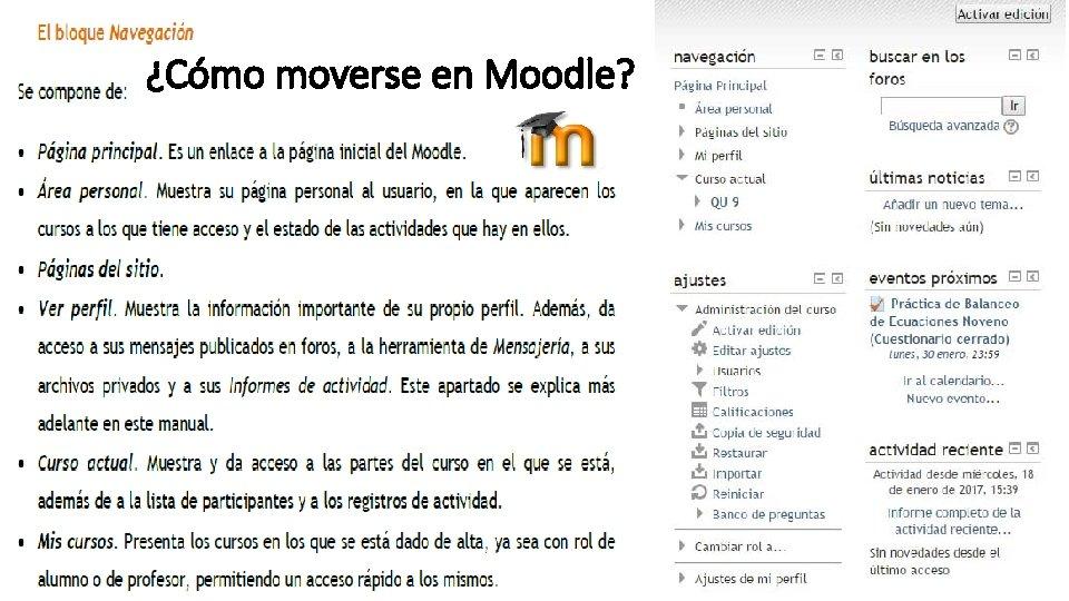¿Cómo moverse en Moodle?