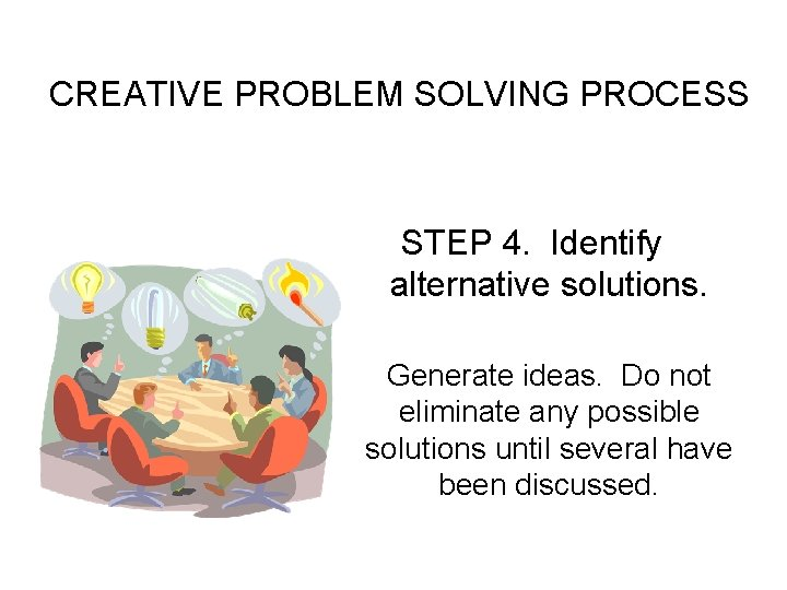 CREATIVE PROBLEM SOLVING PROCESS STEP 4. Identify alternative solutions. Generate ideas. Do not eliminate