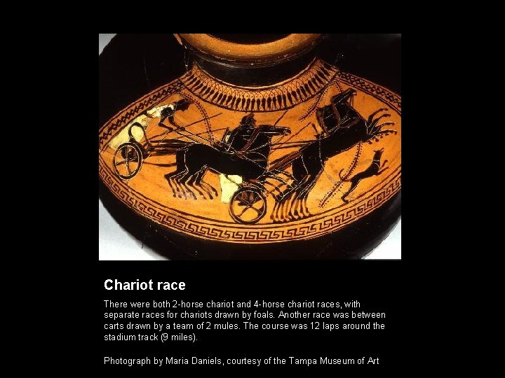 Chariot race There were both 2 -horse chariot and 4 -horse chariot races, with