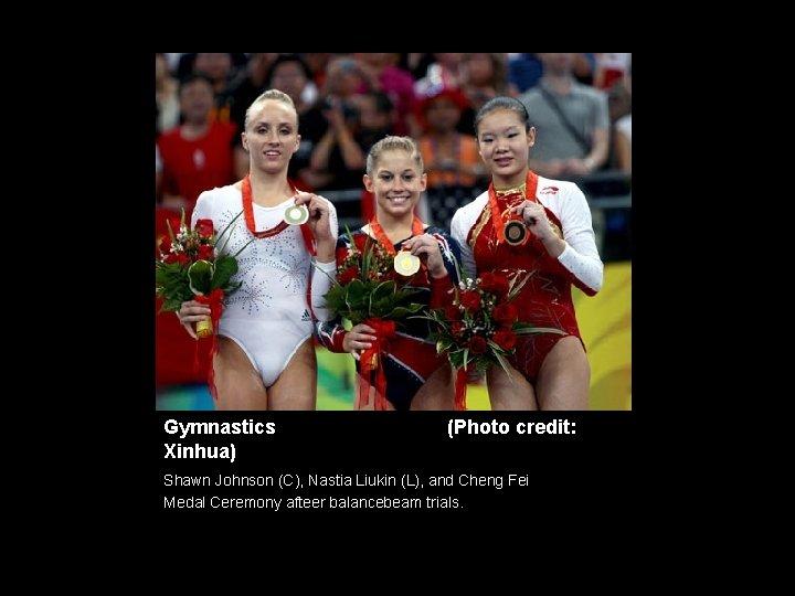 Gymnastics Xinhua) (Photo credit: Shawn Johnson (C), Nastia Liukin (L), and Cheng Fei Medal