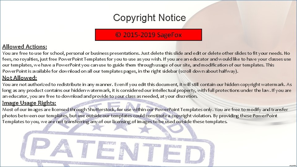 Copyright Notice © 2015 -2019 Sage. Fox Allowed Actions: You are free to use