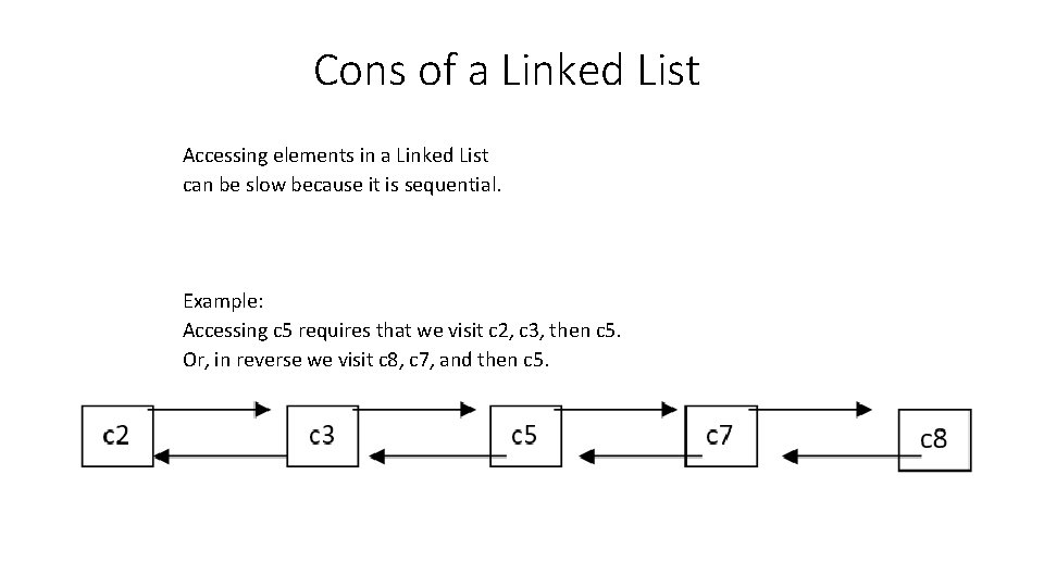Cons of a Linked List Accessing elements in a Linked List can be slow