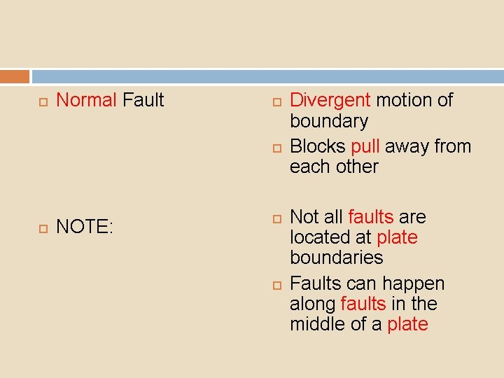 Normal Fault NOTE: Divergent motion of boundary Blocks pull away from each other