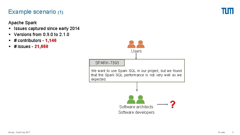 Example scenario (1) Apache Spark § Issues captured since early 2014 § Versions from