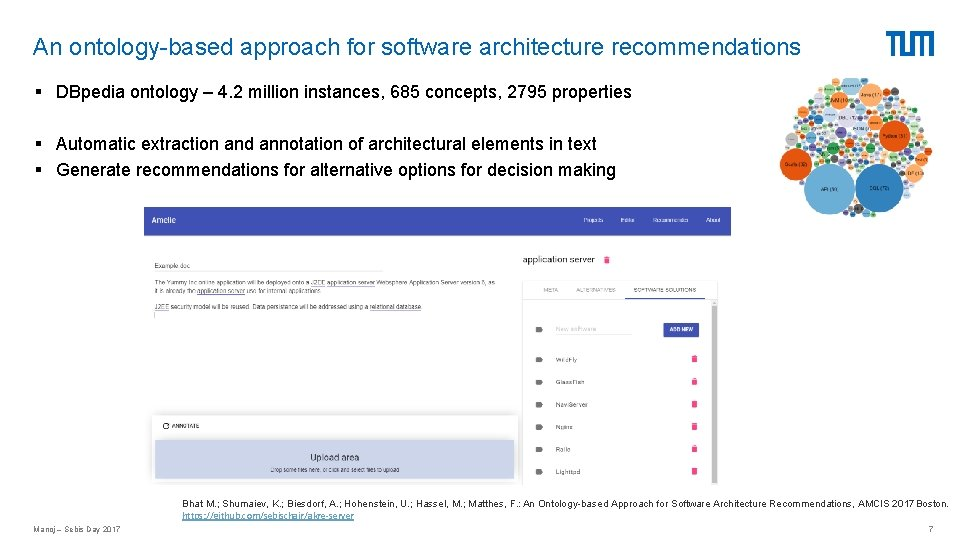 An ontology-based approach for software architecture recommendations § DBpedia ontology – 4. 2 million