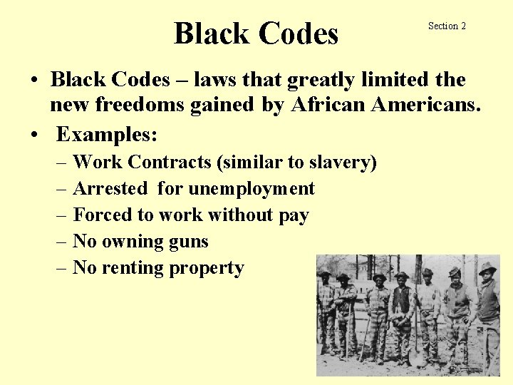 Black Codes Section 2 • Black Codes – laws that greatly limited the new