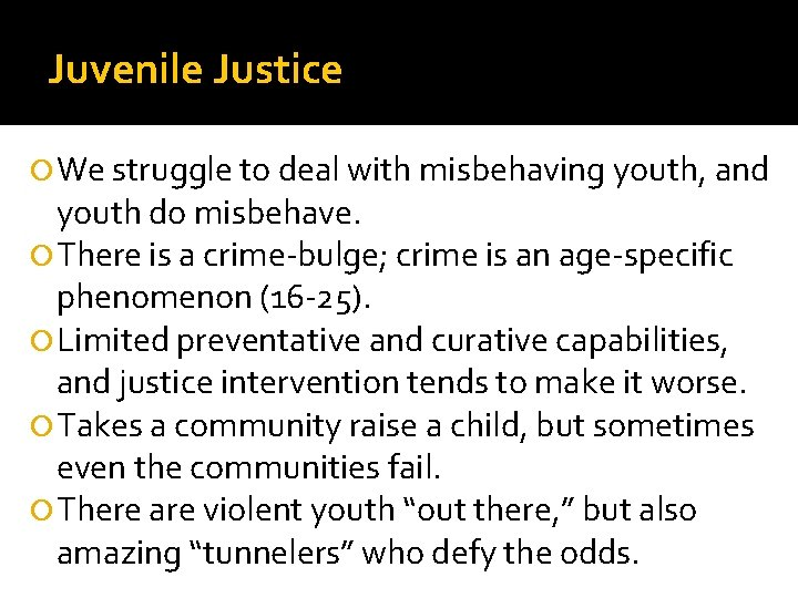 Juvenile Justice We struggle to deal with misbehaving youth, and youth do misbehave. There