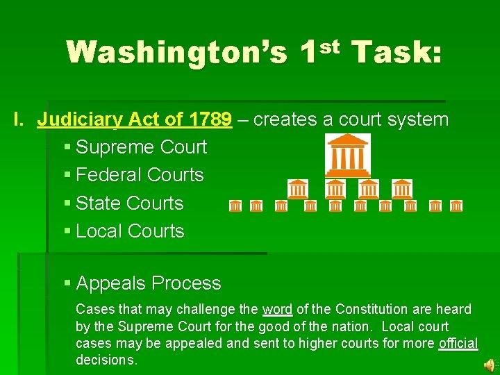 Washington's 1 st Task: I. Judiciary Act of 1789 – creates a court system