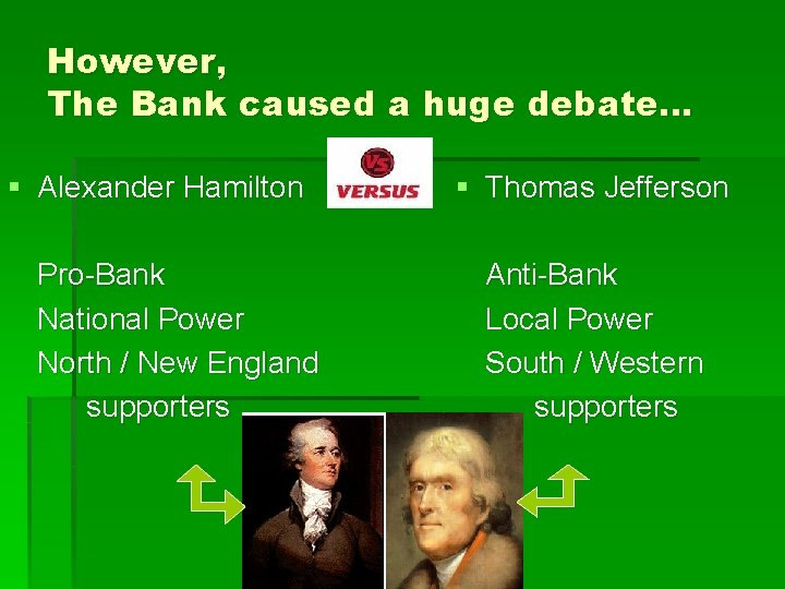However, The Bank caused a huge debate… § Alexander Hamilton Pro-Bank National Power North