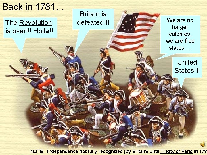 Back in 1781… The Revolution is over!!! Holla!! Britain is defeated!!! We are no