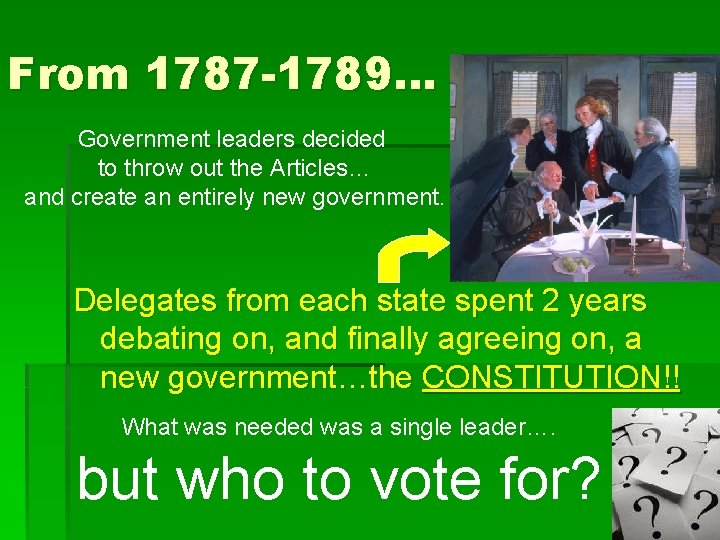 From 1787 -1789… Government leaders decided to throw out the Articles… and create an