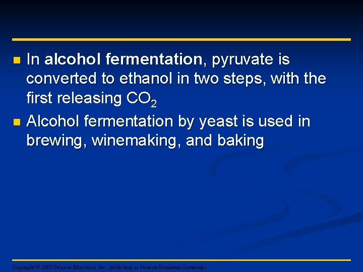 In alcohol fermentation, pyruvate is converted to ethanol in two steps, with the first