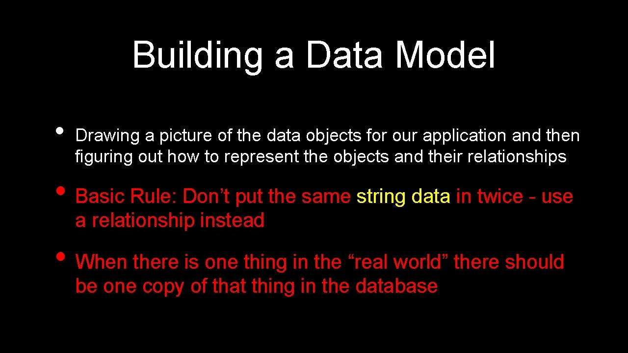 Building a Data Model • Drawing a picture of the data objects for our