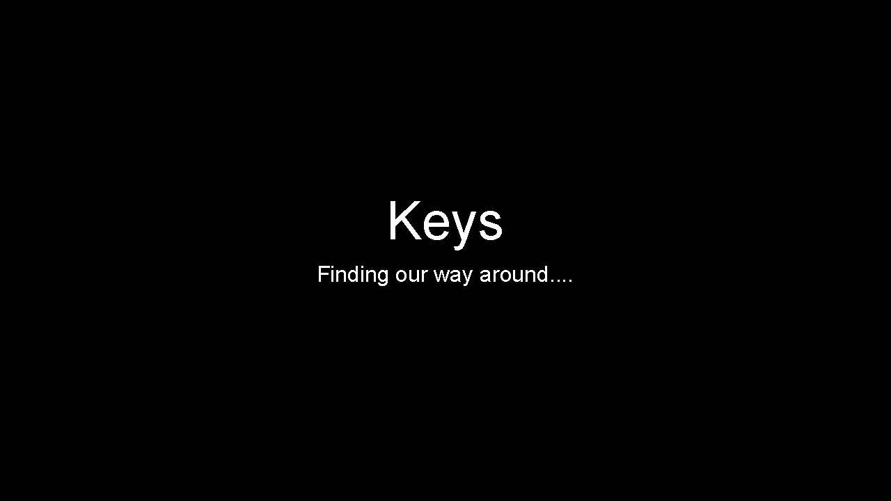 Keys Finding our way around. .