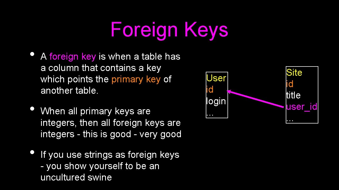 Foreign Keys • • • A foreign key is when a table has a