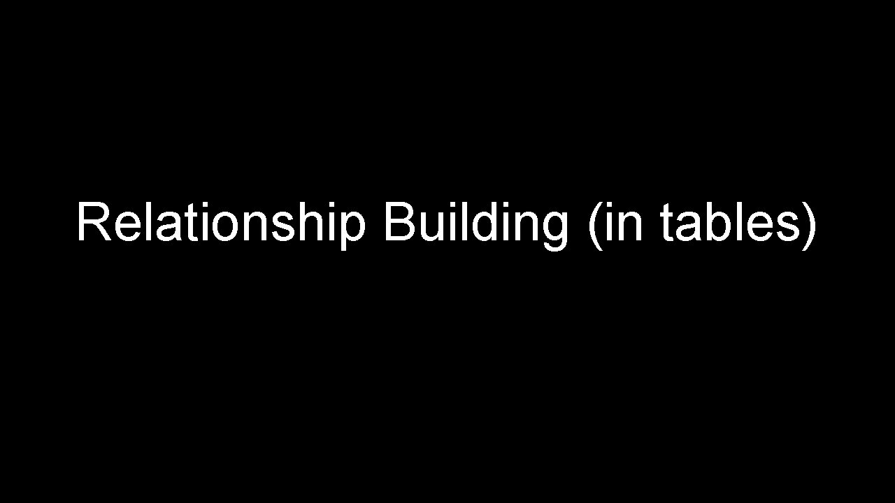 Relationship Building (in tables)