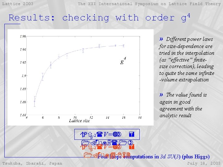Lattice 2003 The XXI International Symposium on Lattice Field Theory Results: checking with order