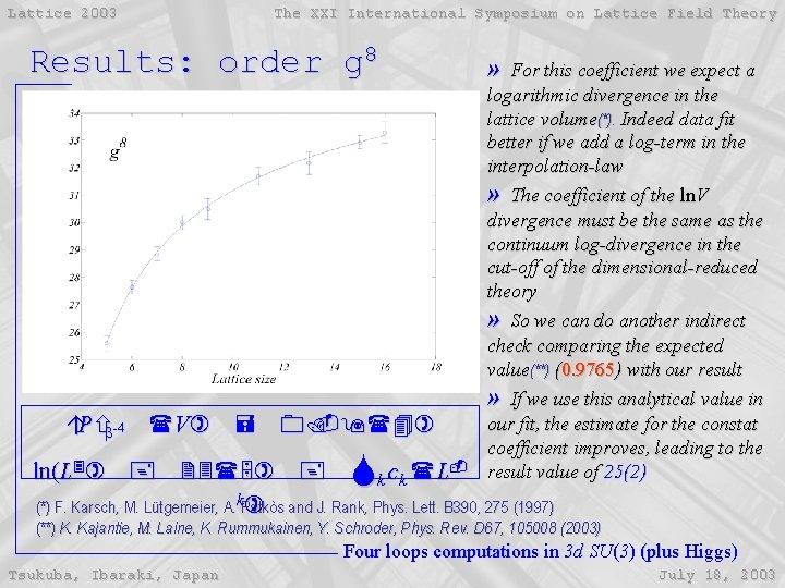 Lattice 2003 The XXI International Symposium on Lattice Field Theory Results: order g 8