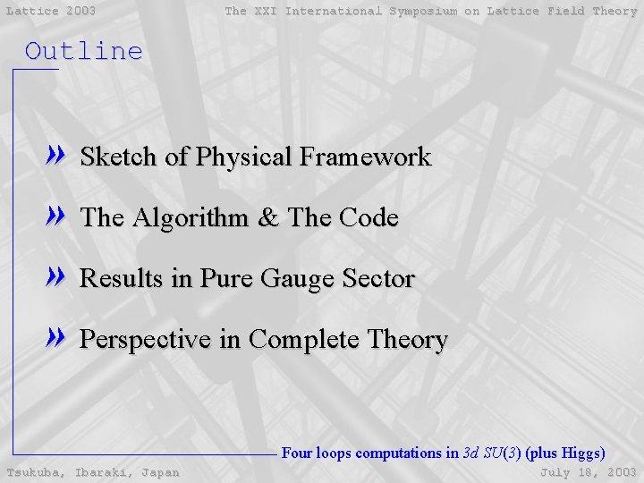 Lattice 2003 The XXI International Symposium on Lattice Field Theory Outline » Sketch of