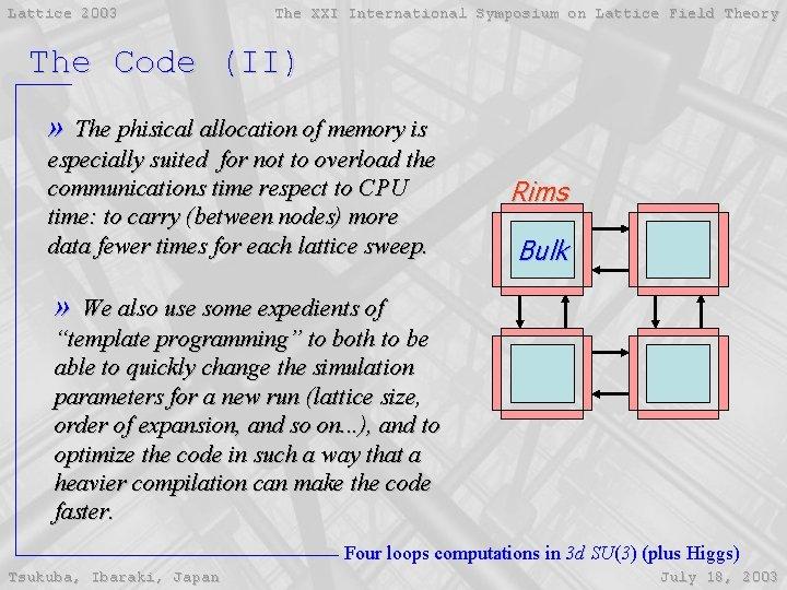 Lattice 2003 The XXI International Symposium on Lattice Field Theory The Code (II) »