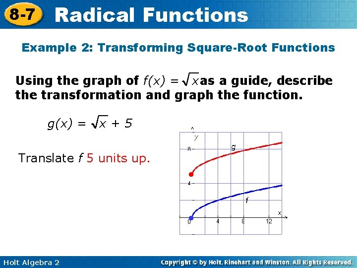 8 -7 Radical Functions Example 2: Transforming Square-Root Functions Using the graph of f(x)