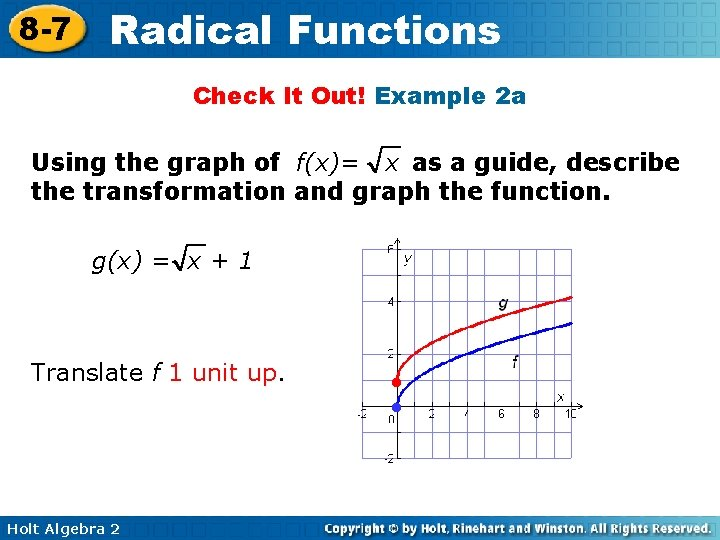 8 -7 Radical Functions Check It Out! Example 2 a Using the graph of