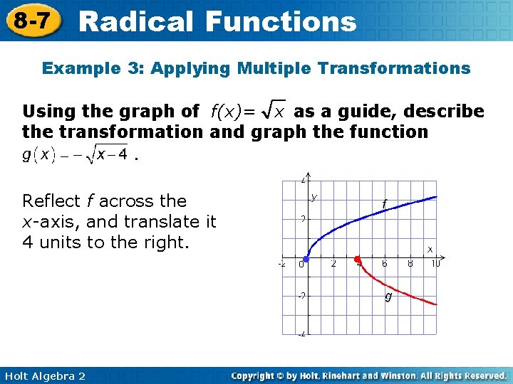 8 -7 Radical Functions Example 3: Applying Multiple Transformations Using the graph of f(x)=