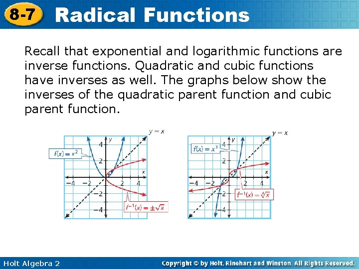 8 -7 Radical Functions Recall that exponential and logarithmic functions are inverse functions. Quadratic